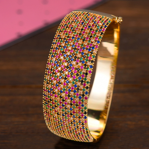 Image 4 - GODKI Breiten Großen Luxus Stapelbar Erklärung Armband Für Frauen Hochzeit Voller Cubic Zirkon Kristall CZ Dubai Armbänder 2019