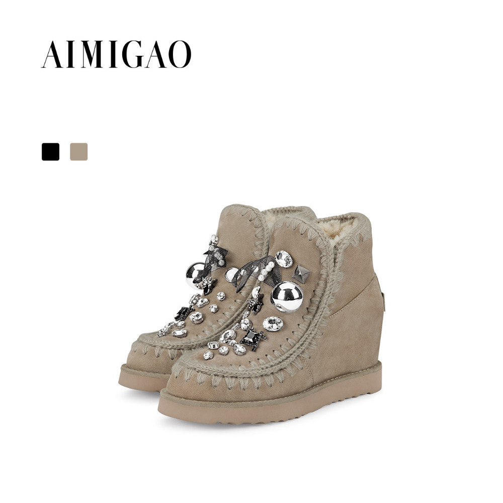 AIMIGAO suede leather winter Warm Wool Fur Boots women increased height thick bottom snow boots female ankle boots 2017 new