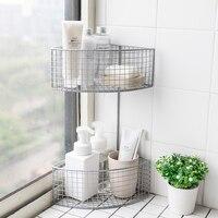 Double wrought iron corner shelf kitchen fan shaped corner storage rack bathroom toilet debris triangle wash rack LL7191915