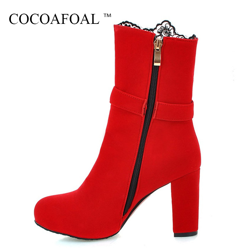 цена на COCOAFOAL Woman Winter Embroider Ankle Boots Black Round Toe Flock Martin Boots Plus Size 33 41 43 Fashion Red High Heeled Shoes