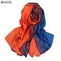 Vancol 2017 chegada nova gradiente longo lenço de seda primavera verão hijab lenço de 190 cm * 110 cm marca lenços infinito lenço das mulheres do sexo feminino