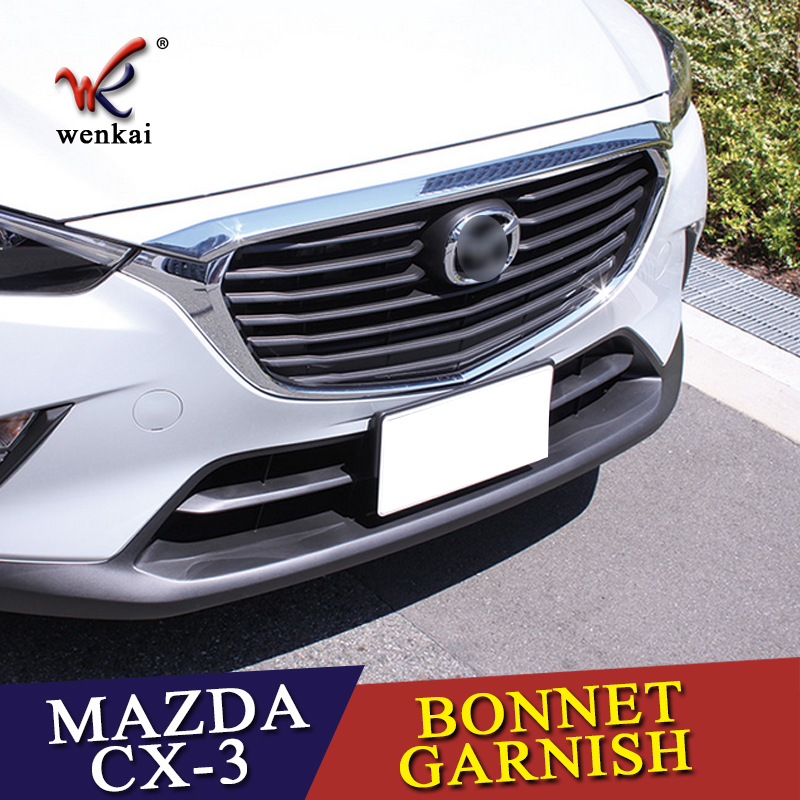 Chrome Front Hood Stripe Grille Upper Cover Trim Sill 1pcs For <font><b>Mazda</b></font> <font><b>CX</b></font>-3 <font><b>2015</b></font> <font><b>2016</b></font> 2017 2018 Car Accessories Styling image