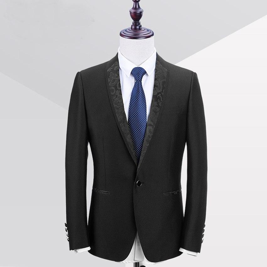 Hb026 Schwarz Kragen One Button Schwarz Bräutigam Smoking Groomsmen Best Man Hochzeit Mens Suits (jacke + Pants + Bow) Männlichen 2 Stücke Sets 2018