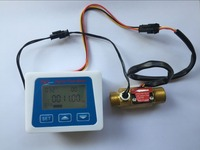 Brass flow sensor temperature measuring YF B7 Hall sensor meter switch+LCD display Digital flow meter