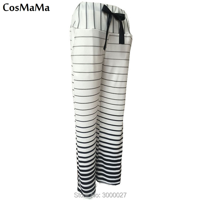 2017 new fashion cosmama sweatpants summer Zebra stripes casual flare culottes pants for women cotton white color trousers 2