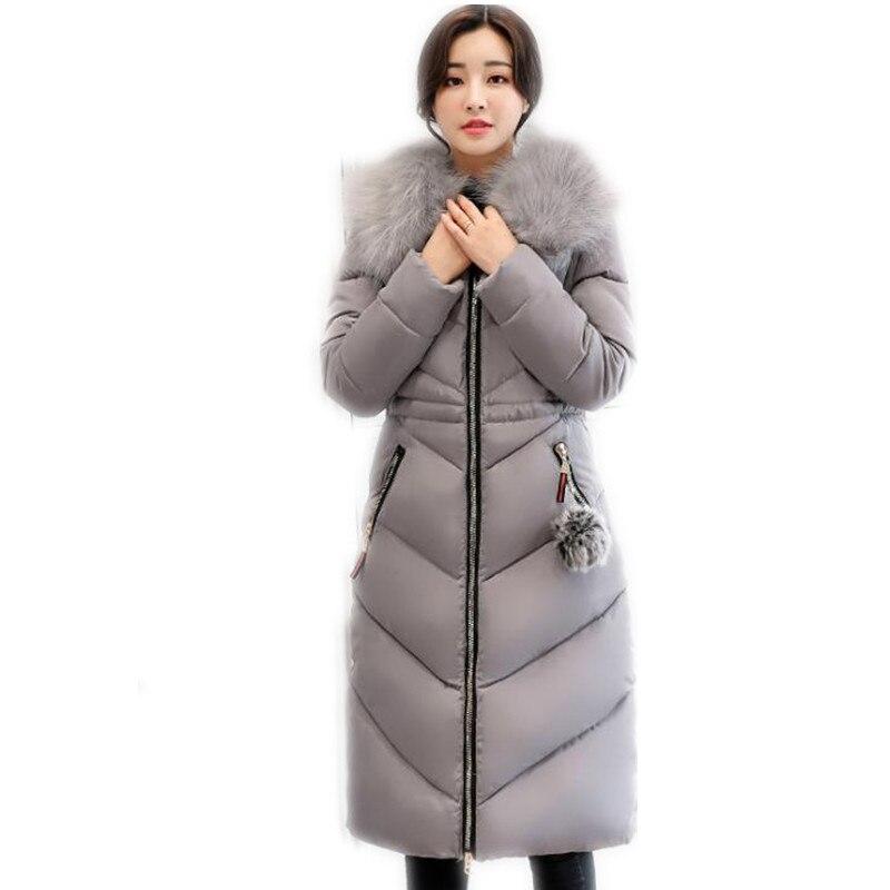 New Fashion Plus Size 7XL2017 Winter Women Long Down Cotton Jacket Parka Female Hooded Thicken Large Fur Collar Warm JacketCQ632
