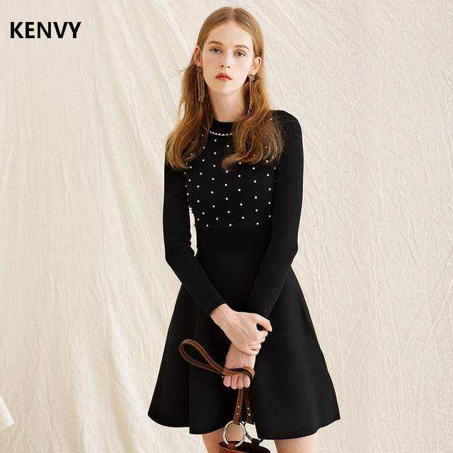 KENVY Brand Fashion Women's High end Luxury Autumn Spring New Slim Pearl Beaded Knitted Long sleeved Dress