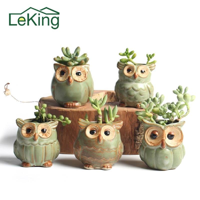 Cartoon Owl Shaped Succulent Plant Ceramic Flowerpot Home Garden Balcony Decoration Random Styles Delivery Potted Plants