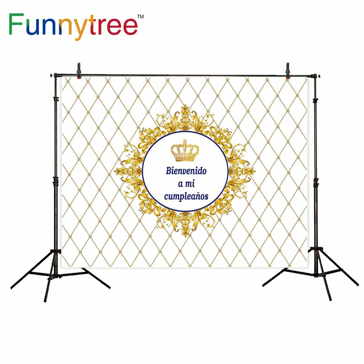 Funnytree backgrounds for photo studio Crown birthday grid golden decoration custom luxury photography backdrop photocall ...