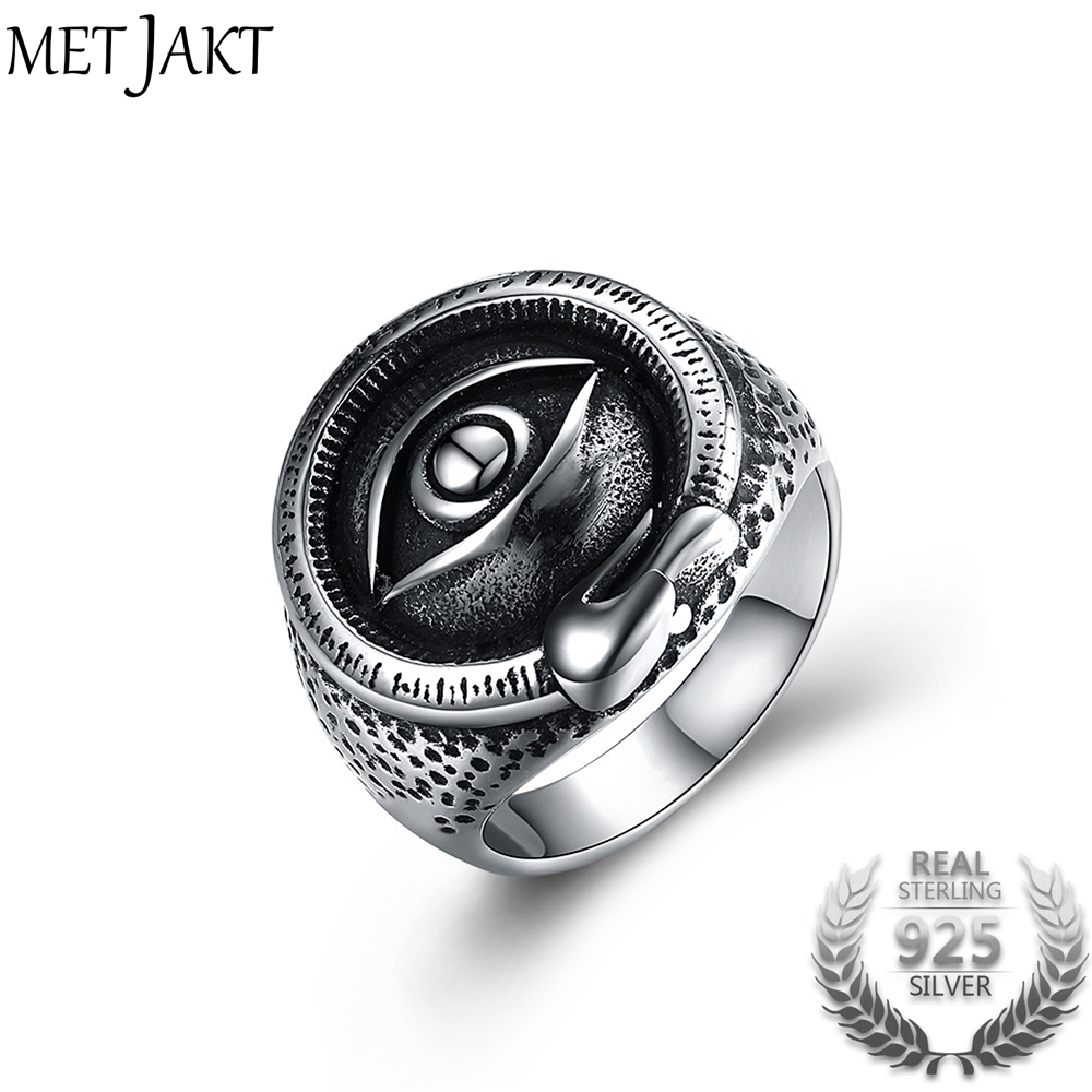 MetJakt Eye of God Rings Solid 925 Sterling Silver Ring for Punk Rock Men Boy Personality Unique Vintage Thai Silver Jewelry alloy tooth eye rock ring