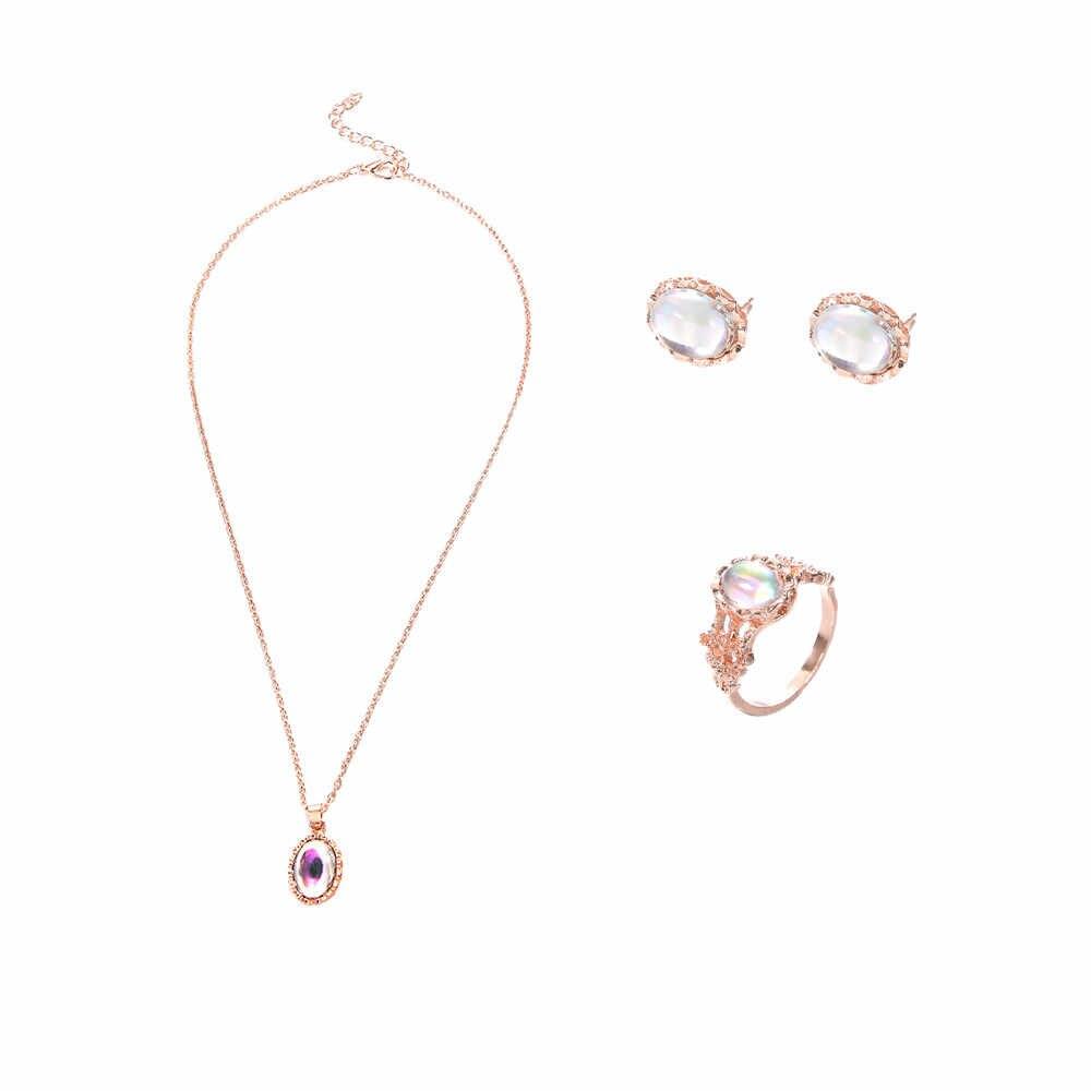 בציר אופל תכשיטי סטים לאישה תליון שרשראות קולר מים Drop עגילים & טבעת זהב צבע בוהמיה מתנות תכשיטי חתונה