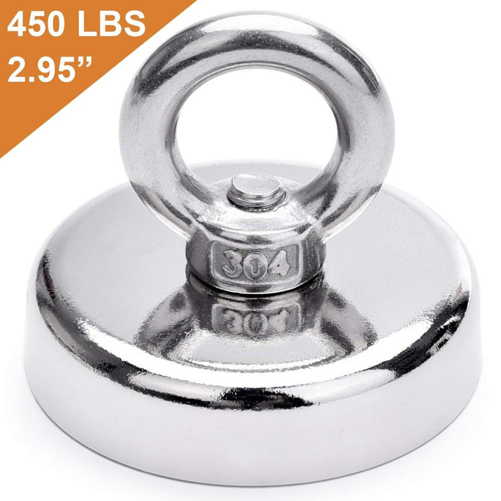 400 lbs for Retrieving in River and Magnetic Fishing Pulling Force Rare Earth Magnet with Countersunk Hole Eyebolt Diameter 2.36 inch 60 mm 181 KG Super Strong Neodymium Fishing Magnets