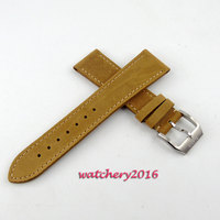 22mm brown Leather genuine Strap fit parnis watch