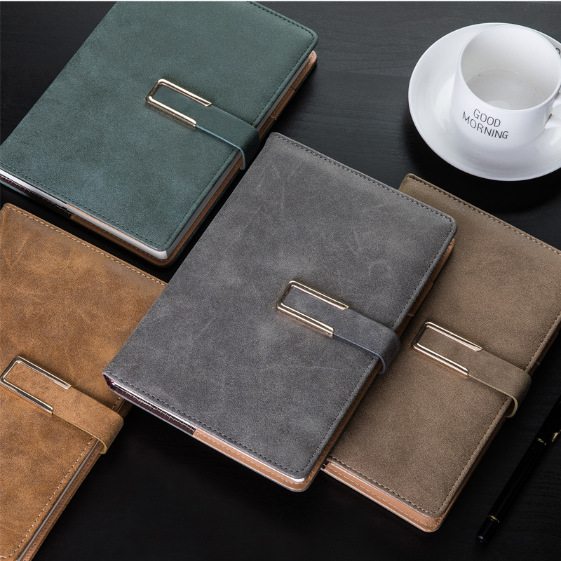 A5 Thick Office Business Notebook With Button, Business Diary Travler Planner Notepad Office Meeting Writing Pad