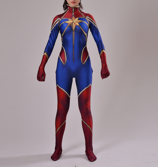 Captain Marvel Costume Female Ms Marvel Superhero Costume -3008