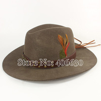 Winter Quality Feather Mens Wool Felt Cowboy Hats With Leather Band Chapeu Masculino Free Shipping PWSX