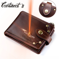 Contact's Genuine Leather Wallet Men Coin Purse Small Clutch Walet for Male Vintage Hasp Design Money Bag Card Holder PORTFOLIO