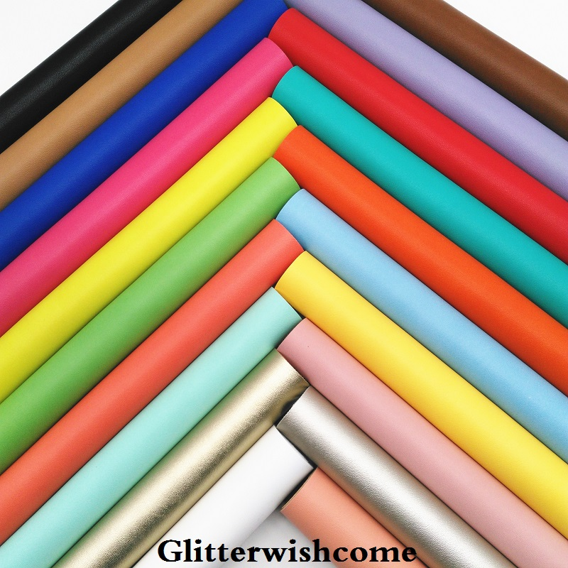 Glitterwishcome 21X29CM A4 Size Vinyl Synthetic Leather Immitation Cow Leather Faux Leather Sheets For Bows, GM097A