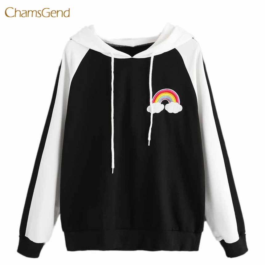 CHAMSGEND 2018 Hoodies Women Hoodies Winter Warm Women Grey Hoodie Sweatshirts Womens Rain Bow Long Sleeve Hooded Sweatshirt