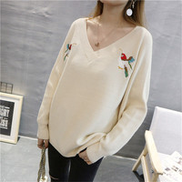 MOSHU Women Sweaters Knitted Winter Sexy Pullovers Female Casual Embroidery Coat V Neck Long Sleeve