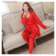 2016 New Spring Autumn Elegant Womens Silk Satin 3 Piece Sleep Suit Sexy Lady Pajama Sets Sleepwear Women Lounge Pyjamas