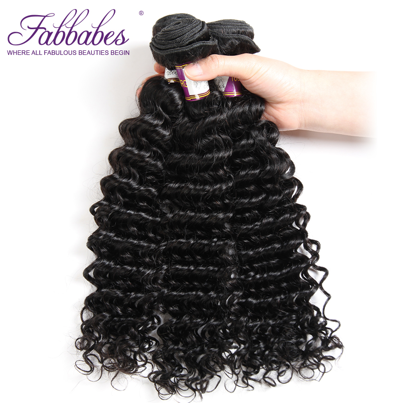 Fabbabes Hair Peruvian Virgin Hair Deep Wave 3 Bundles Lot 100% Unprocessed Human Hair Weave Natural Color Free Shipping