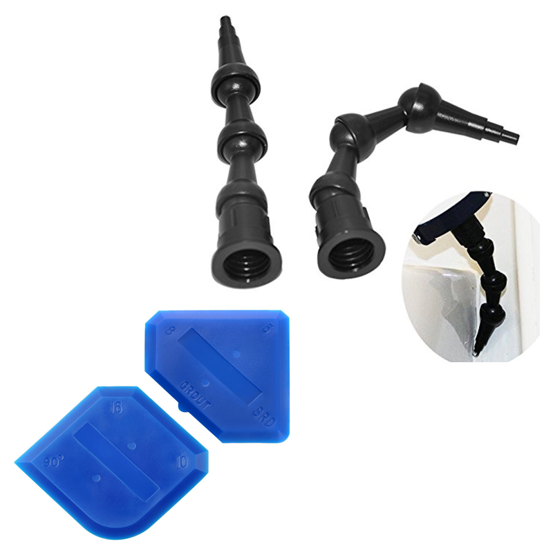 10Sets Per Order 2pcs 360 Degree 90 Degree 45 Degree Rotating Bent Sealant Nozzle And 1set Sealant Finishing Scraper