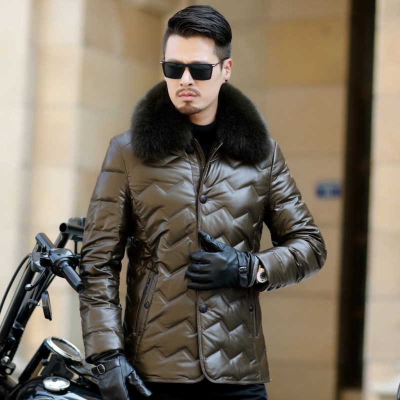 HTB1C7 PXiYrK1Rjy0Fdq6ACvVXaU Jaqueta Couro Sale Men Engine Leather Parka Winter Down Jacket 2018 New Middle-aged Sheep Coats Large Size Outerwear Male No520