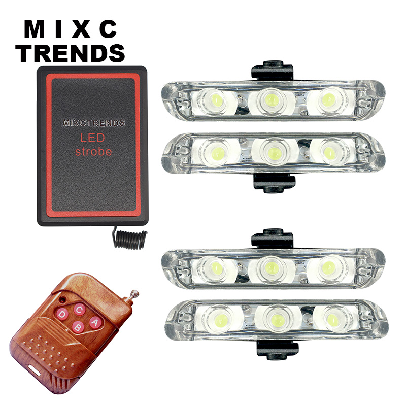 4X3LED DRL Wireless Remote Controlled LED Strobe Warning Light Bar 12V Flasher Car truck Emergency ambulance police flash light  luces led de policía
