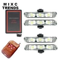 4X3LED DRL Wireless Remote Controlled LED Strobe Warning Light Bar 12V Flasher Car Truck Emergency Ambulance
