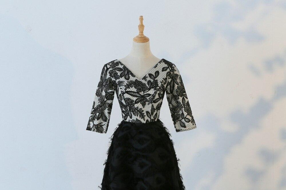 JaneVini 2018 nouveau noir col en v femmes soirée robes formelles pailletées 3/4 manches longueur au sol longue mère de la mariée robes - 4