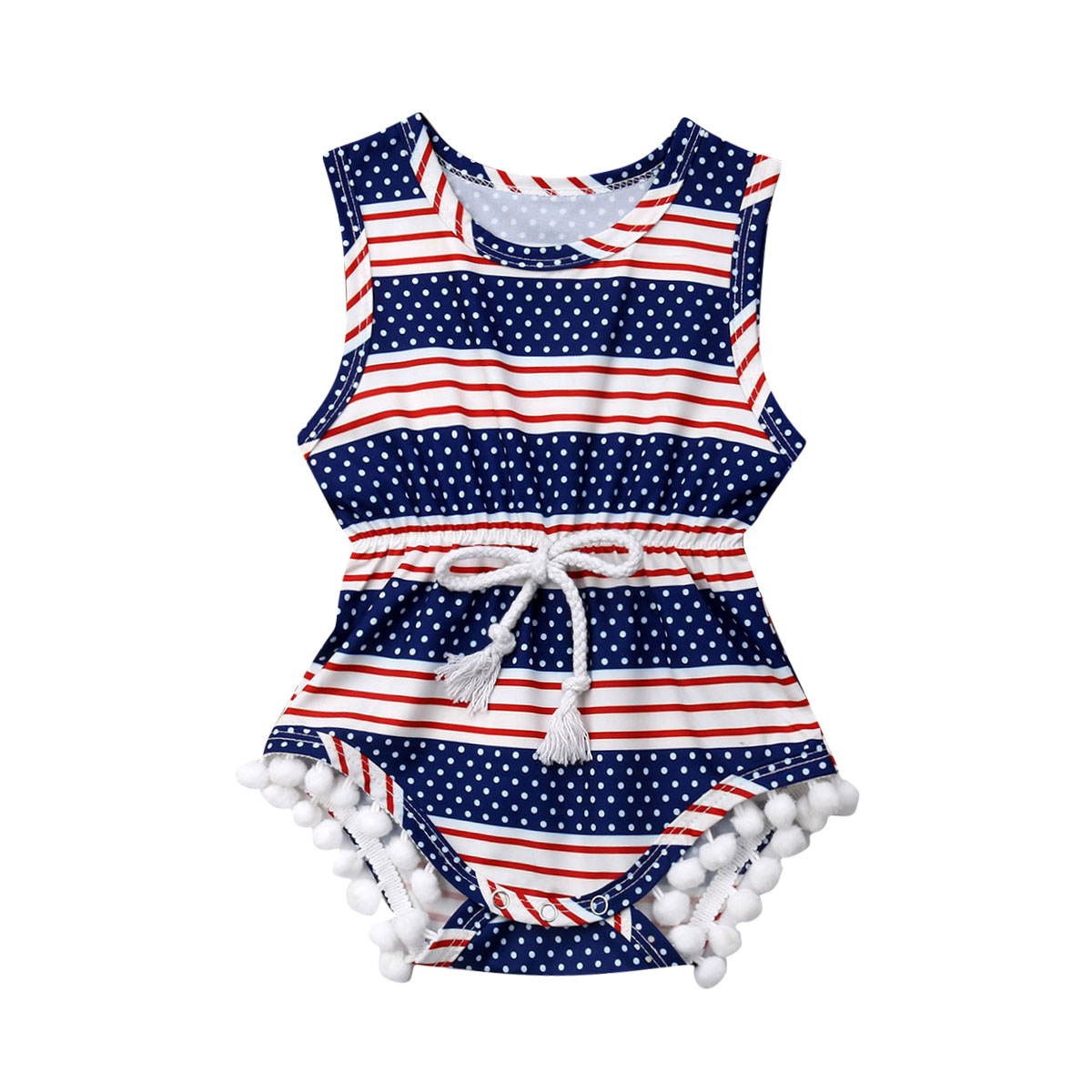 4th Of July Newborn Infant Baby   Romper   Independence Day Clothes American Flag Pattern Tassel Sleeveless Playsuit Sunsuit