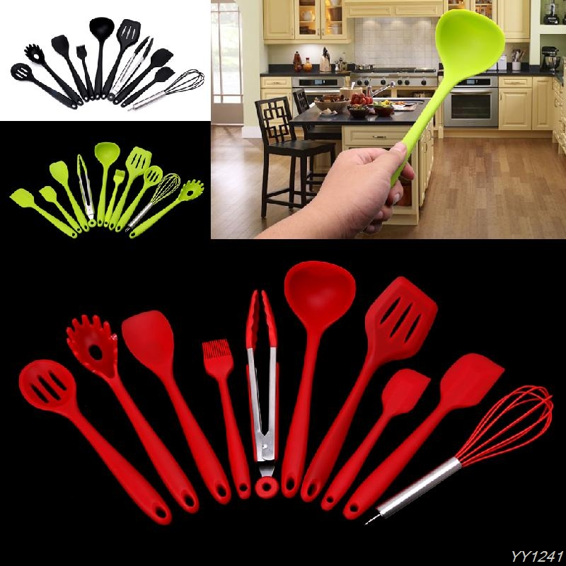 10Pcs Heat Resitant Non-stick Silicone Kitchen Utensils Set Cooking Bakeware Sets Tool Y110-Dropshipping