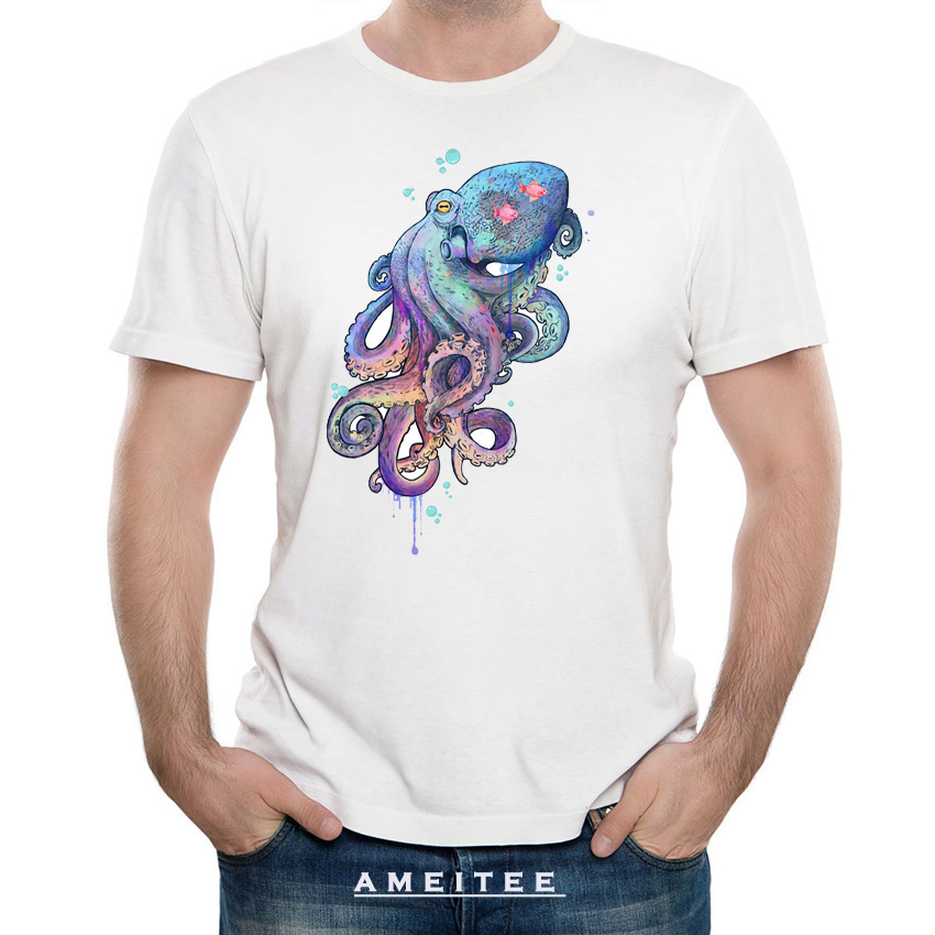 Nautical rainbow coloured octopus with psychedelic tentacles T-Shirt men fashion t-shirt man Tops summer cool Tees