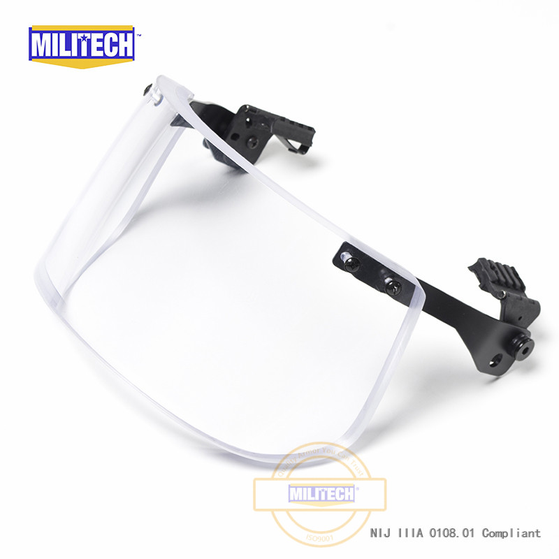 MILITECH NIJ 0108.01 IIIA 3A Bulletproof Visor For ACH FAST Tactical Helmet Bulletproof Visor Bullet Proof Mask For Helmets