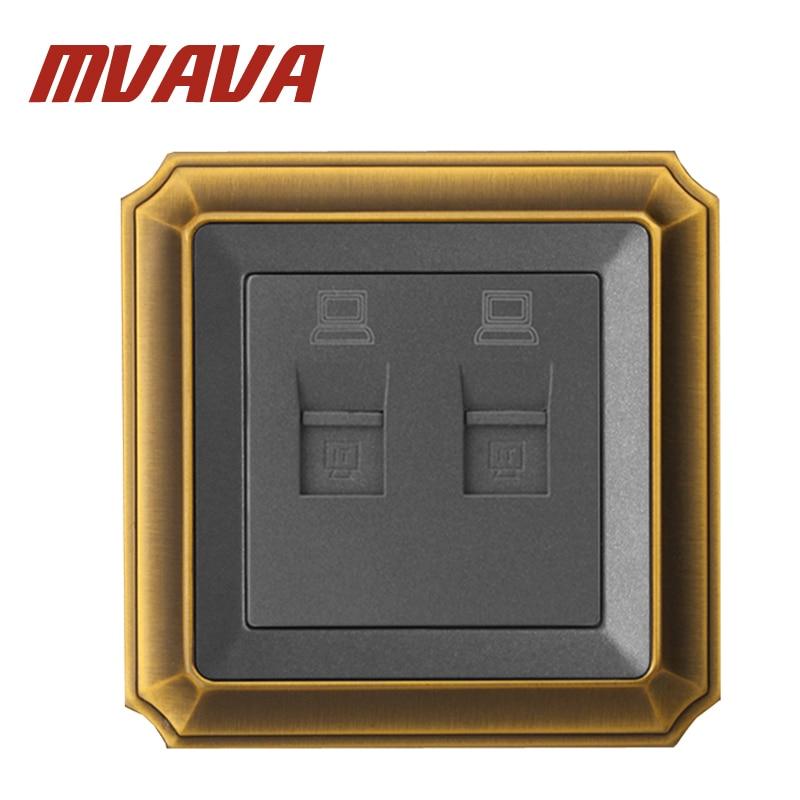 MVAVA Double Port Network Ethernet LAN RJ45  Wall Socket ,2 gangs wall Computer/PC Plug Outlet,Luxury Decorative Bronzed panel