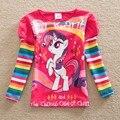 Varejo 2016 novo estilo de puro confortável adorável My Little Pony padrão do bebê do algodão roupas de menina manga longa t camisas LH606 #