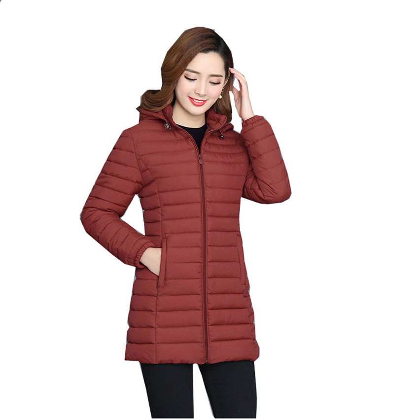 New Winter Women Thin Cotton Jacket Hooded Coats Midi Long Slim   Parkas   Warm Long Sleeve Down Cotton Coat Plus Size Outwear WZ508