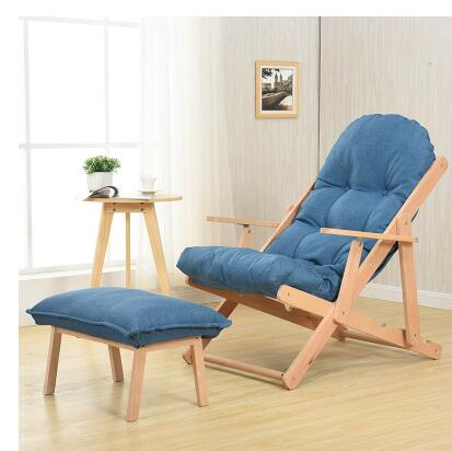 Balcony reclining chair. Real wood cloth art sofa folding. Office lazy person casual Japanese beach chair..05