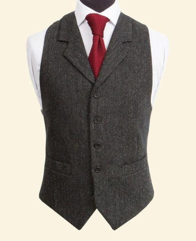Vintage Wool Tweed Vests Slim Mens Suit Vests Custom Made Sleeveless Suit Jacket Wedding Waistcoat Male Dress Vest Groom Vest ...