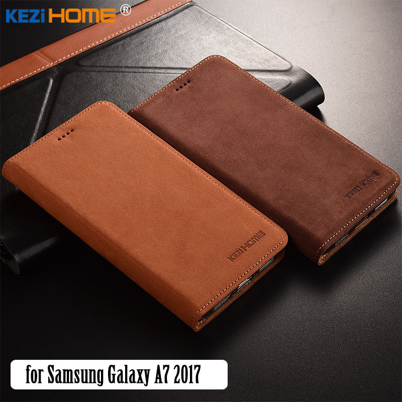 for Samsung Galaxy A7 2017 case KEZiHOME Luxury Matte Genuine Leather Flip Stand Leather Cover capa For A720 5.7'' cases coque