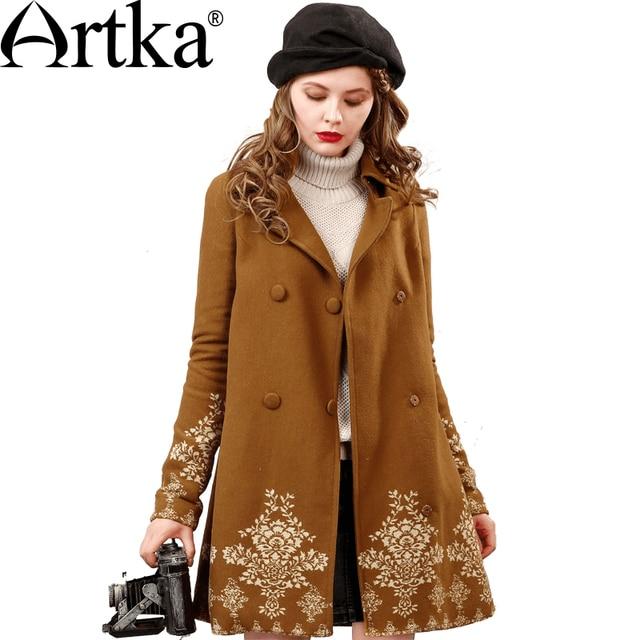 Artka Women's Autumn Coat Double Breasted Windbreaker Warm Wool Jacket Female Oversized Coat Jacquard A-Line Outerwear FA10653Q