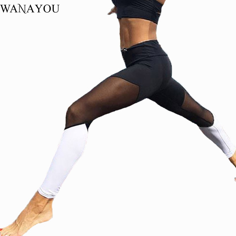 WANAYOU Sexy Mesh Yoga Pants Women Compression Bresthable