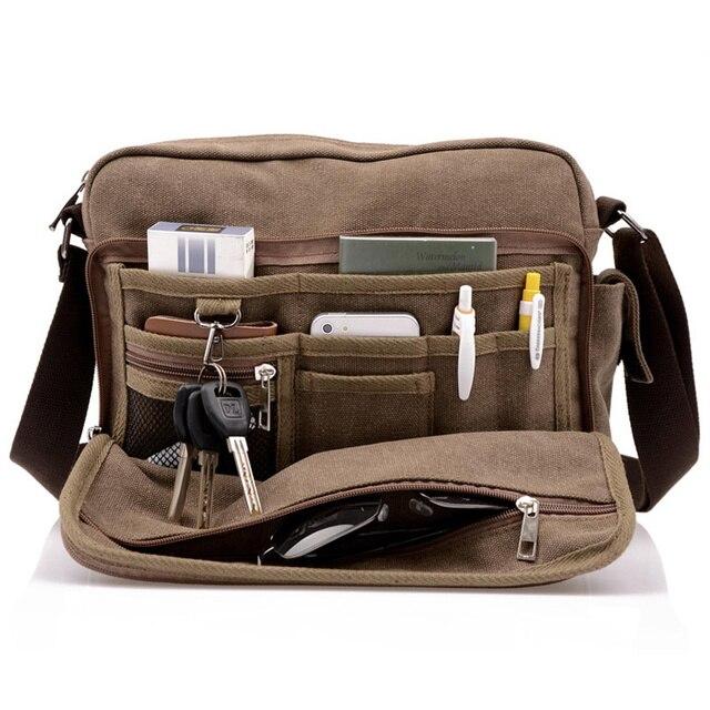 Высокий! сумка почтальона сумочки высокое качество многофункциональный мужчины холщовый мешок свободного покроя путешествия Bolsa Masculina муж...