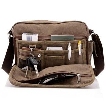 Bolsa de lona para hombres de alta calidad de múltiples funciones, bolsa de viaje masculina informal, bandolera de hombre caqui y negro