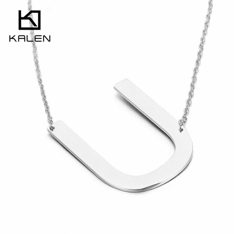 Kalen New Arrival Initial Letter T Pendant Necklace Chain Womens Ladies Stainless Steel Adjustable Silver Color Daily Jewelry