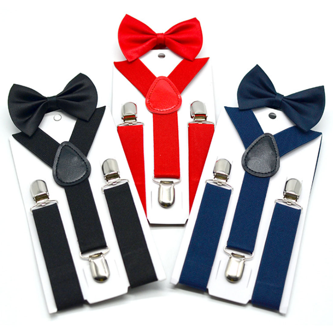 Parent-Child Cool Suspenders Bow Tie Set Nice Polyester Charming Y-Back Braces Kids Butterfly Cool  Belt Bow Tie Adjustable