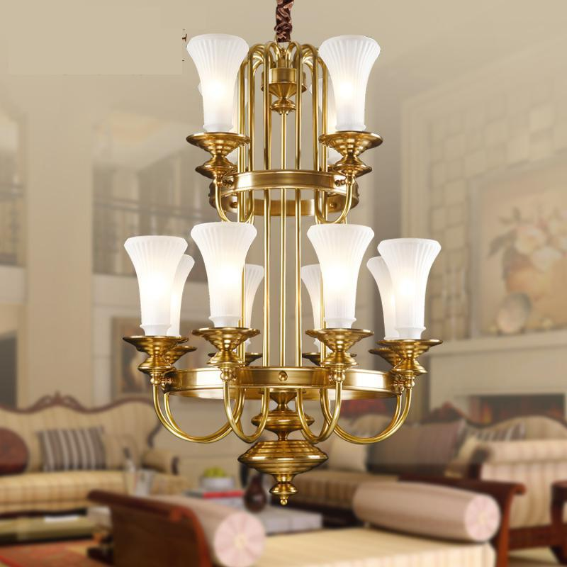large glass lampshade gold brass chandelier led lampara for church - Indoor Lighting - Photo 2