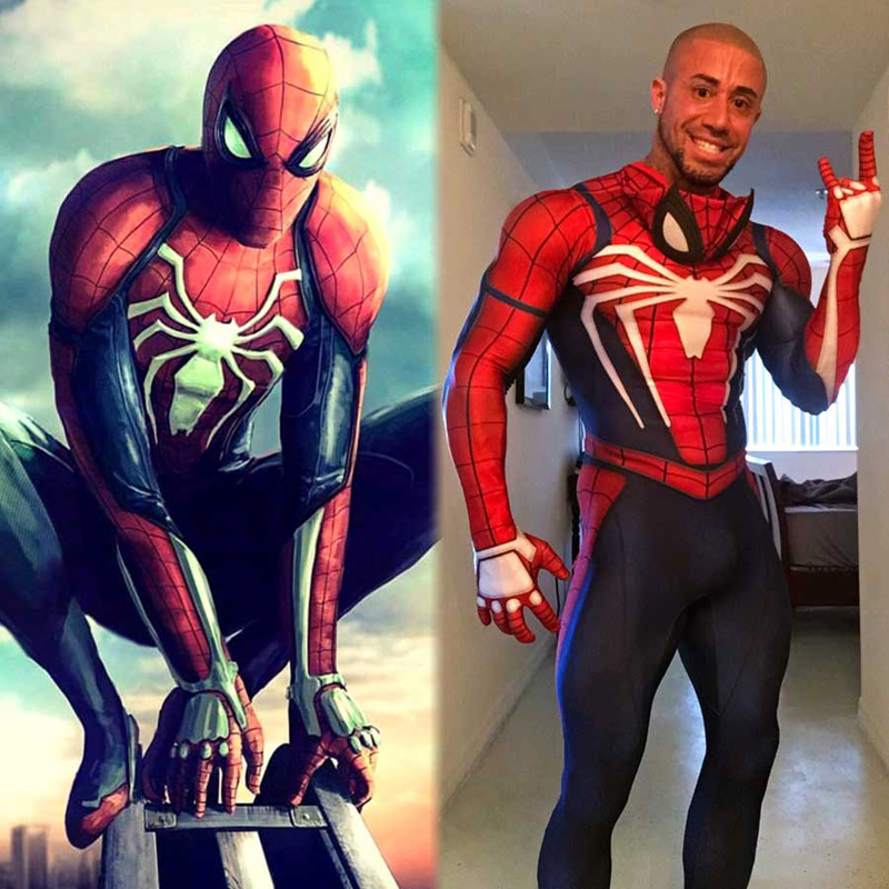 New PS4 Insomniac Spiderman Cosplay Adult Men Kids Costumes Game Spiderman Spandex Suit Game PS4 SpiderMan Jumpsuits Spider-Man