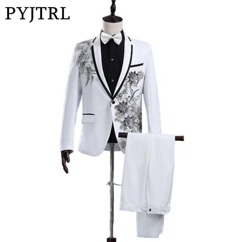 PYJTRL Men Fashion Paillette 3D Flower Embroidery Stage Singer Latest Coat Pant Designs Wedding Suits With Pants Mens Beige Suit